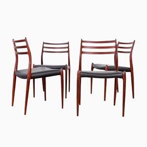 Mod. 78 Rosewood Chairs by Niels Møller for J.L. Møllers, 1960s, Set ...