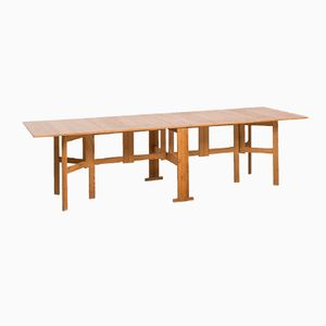 Swedish Pine Gatelegged Dining Table, 1950s