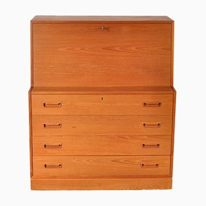 Danish Teak Secretaire with Integrated Light, 1960s