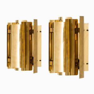 Brass Wall Lamps from Falkenbergs Belysnings AB, 1970s, Set of 2
