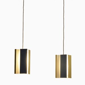 Dutch Mid-Century Tricolor Pendant Lamps from Anvia, Set of 2