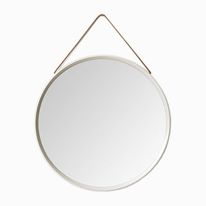 Vintage White Round Mirror with Leather Strap