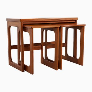 Teak Nesting Tables with Rotating Top from McIntosh, Set of 3
