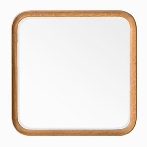 Vintage Oak Mirror with Rounded Edges by Fröseke, AB Nybrofabriken