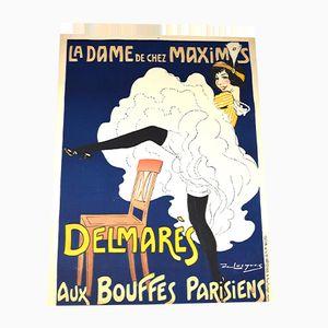 Französisches Art Déco La Dame de Chez Maxim's Poster von Daniel de Losques, 1910