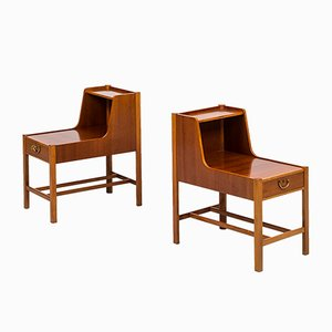 Mahogany and Brass Night Stands by David Rosén for Nordiska Kompaniet, Set of 2