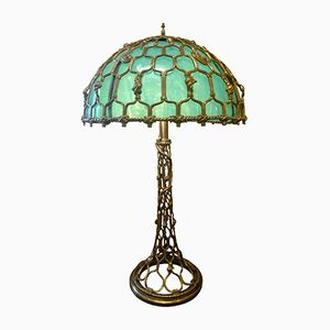 Vintage Brass & Emerald Opaline Glass Table Lamp