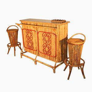 Italienische Bambus Bar Set, 1950er