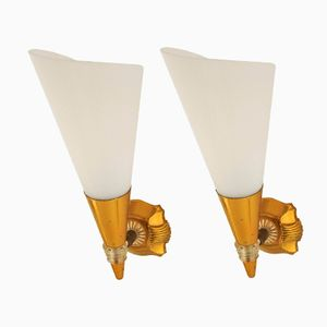 French Perspex and Gilt Metal Sconces, 1950s, Set of 2