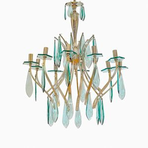 Italian Brass and Glass Chandelier, 1950