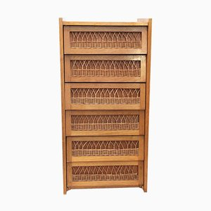 French Wood & Wicker Chest of Drawers, 1970s