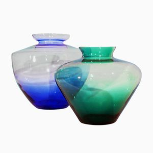 Italian Glass Vases, 1950s, Set of 2