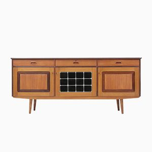 Mid-Century Danish Teak & Stained Glass Bar Sideboard