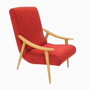 French Beech and Red Fabric Armchair, 1950s