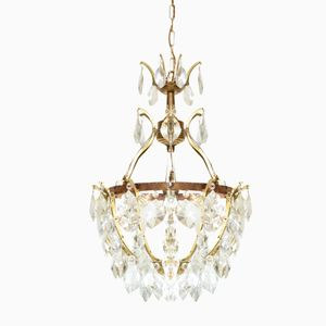 Vintage French Brass & Crystal Chandeliers, Set of 2