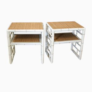 Tables de Chevet Vintage en Faux Bambou, Set de 2