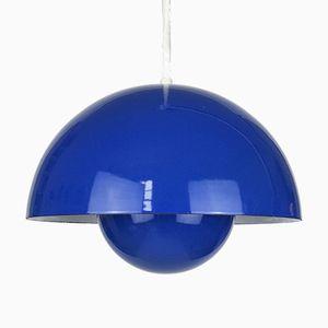 Blaue Flowerpot Hängelampe von Verner Panton für Louis Poulsen, 1960er