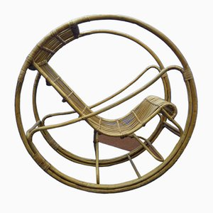 Rocking Chair en Rotin et en Osier, 1960s