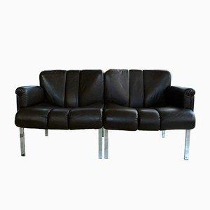 Dark Brown Eurochair Leather Sofa from Girsberger, 1970s