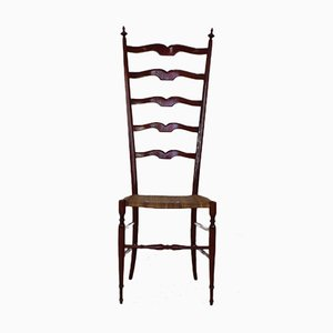 High Back Red Walnut Chiavari Chair from Giuseppe Gaetano Descalzi, 1950