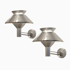 Dutch Brushed Aluminum Wall Sconces from Philips, 1950s, Set of 2