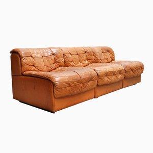 Swiss Modular DS-11 Cognac Leather Sofa from De Sede, 1985