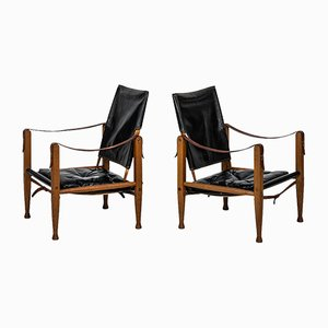 Black Leather Safari Chairs by Kaare Klint for Rud Rasmussen, Set of 2