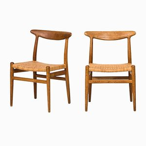 W2 Dining Chairs by Hans Wegner for C.M. Madsen, 1950s, Set of 6