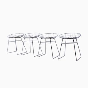 Chrome Plated Metal Wire Stools by Cees Braakman for Pastoe, Set of 4