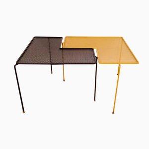 Tavoli Domino Mid-Century neri e gialli, set di 2