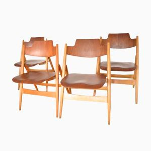 Mid-Century SE18 Beech & Teak Folding Chairs by Egon Eiermann for Wilde + Spieth, Set of 4