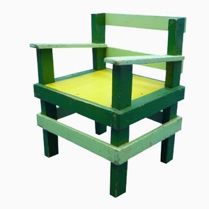 Sedia da bambino vintage in stile Bauhaus in legno