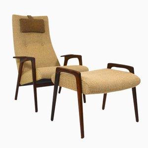 Niederländischer Ruster Stuhl und Fußhocker von Yngve Ekström für Pastoe, 1950er