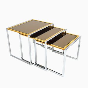 Italian Chrome, Brass, and Brown Mirror Nesting Tables, 1970s