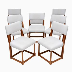 French Walnut Dining Chairs, 1920s, Set of 8