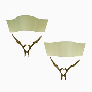 Amour Toujours Bronze Sconces by Felix Agostini, 1965, Set of 2
