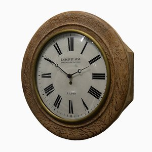 Vintage Wooden Wall Clock from Charvet Ainé