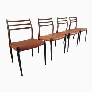 Rosewood & Cognac Leather Model 78 Dining Chairs by Niels Otto Møller for J.L. Møller, 1965, Set of 4