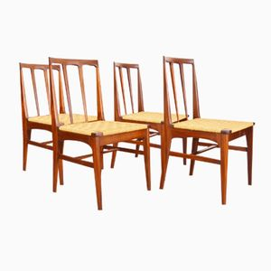 Mid-Century Teak & Seagrass Chairs from Younger, Set of 4
