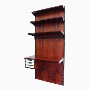 Rosewood Wall-Mounted Shelving Unit with Desk by Kai Kristiansen for FM Møbler, 1965