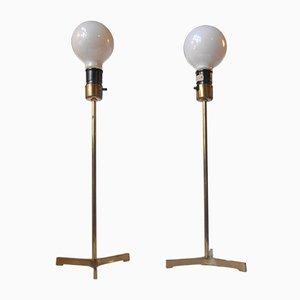 Scandinavian Modern Dreibein Tischlampen aus Messing mit Großen Glühbirnen, 1960er, 2er Set