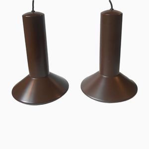 Danish Chocolate Brown Aluminum Pendant Lamps by Sidse Werner for Holmegaard, 1970s, Set of 2