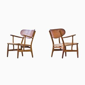 CH-22 Easy Chairs by Hans J. Wegner for Carl Hansen & Søn, 1950s, Set of 2