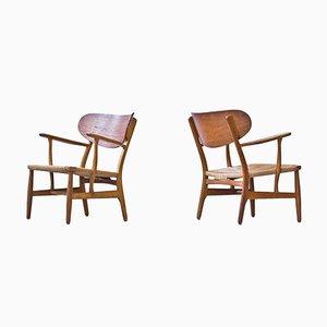 CH-22 Easy Chairs by Hans J. Wegner for Carl Hansen & Søn, 1950s, Set of 2