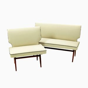 Mid-Century Upholstered Benches, 1960, Set of 2