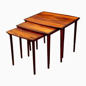 Tables Gigogne Mid-Century Moderne en Palissandre par N. A. Jørgensen pour Bramin, 1960s, Set de 3