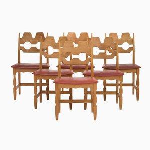 Eichenholz Esszimmerstühle von Henning Kjærnulf, 1960er, 6er Set