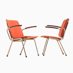 Dutch Red Skai & Chrome Easy Chairs from Gispen, 1960s, Set of 2