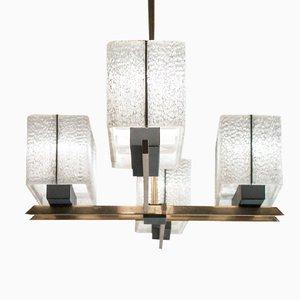 Französische Deckenlampe aus Lackiertem Metall & Acryl, 1950er