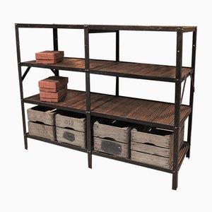 Vintage Industrial Metal and Wood Shelving Unit